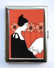 Art Nouveau Goddess and Poppies Cigarette Case id case Wallet Business Card Hold