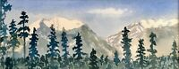 Buffalo Mountain, Original Watercolor, matted, signed & framed