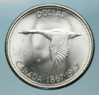 1967 CANADA Confederation Founding OLD Goose Genuine Silver Dollar Coin i83803