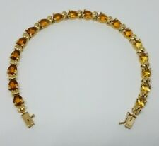 14K SHADED NATURAL PEAR SHAPED CITRINE BRACELET 9.85 GRAMS