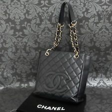 Rise-on CHANEL Classic Black Caviar Skin Leather PST Chain Tote bag #2264