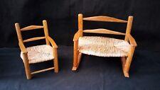 Vintage Salesman Sample Doll Cane Double Rocker Chair Doll furn needs Repair