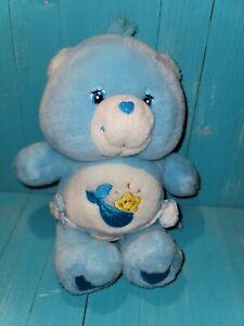 """Vtg Care Bears Baby Tugs Bear Plush 10"""" Blue Star 80s Kenner"""