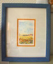 """Aquarelle """"Champ de tournesols"""", carte décorative encadrée et prête à poser"""