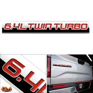 """""""6.4L TWIN TURBO"""" Metal 3D Decal Red Emblem Exterior Sticker For Ford Pickup"""
