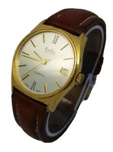 Vintage Mens Bentima Star Brown Leather Strap Watch Swiss Made *New Battery* A5