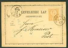 HUNGARY TOWN CANCEL on 1871 2kr POSTAL CARD - NAGY ATAY