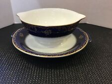 Rosenthal Continental CHARLEMAGNE Cobalt Gravy Boat & Attached Underplate