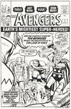 Avengers 1 Cover Recreation Original art Latcha 11x17 Hulk Thor Iron Man Loki OA