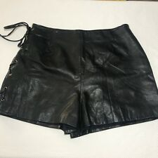 Vtg 90s Cedars Womens Black Genuine Leather Short Shorts 12 Lace Up Lined