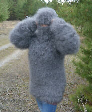 Sweater Fuzzy super long sleeve attached balaclava 100% Goat Down Mohair FETISH