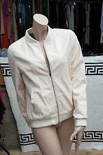 NEW Atmosphere UK 14 Smart Cream Nude Faux Leather Biker Zip Jacket Blazer Coat