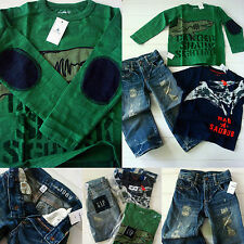 NWT Baby Gap Boys 3 3T SHARK shirt 1969 loose denim JEANS 77Kids Outfit LOT 3pcs