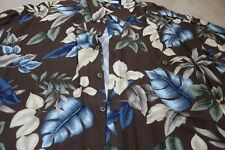 Men's Pre owned Campia Moda Hawaiian Shirt Size XL 100% Rayon Brown Floral