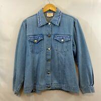 Tia Designs Women Blue Long Sleeve Embellished Button Front Denim Jacket Size L