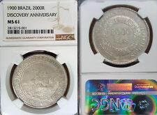 Brazil 1900 2000 Reis, Discovery Anv., Rare Grade NGC 61 PQ, Sharp Detail/Luster