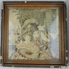 ANTIQUE  NEEDLEPOINT TAPESTRY MUSKETEER & BOY FRAMED FRENCH,ITALIAN OR SPANISH