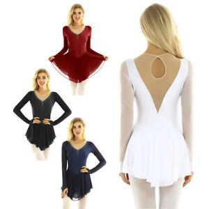 Adult Women's Shiny Long Sleeve Lyrical Ballet Leotard Dance Long Dress Costume