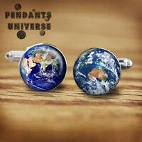 The Moon Handmade cufflinks gift for men space geeks nerds platinum cuff links