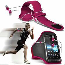 PINK ✔ qualità Sports Fascia Da Braccio Da Palestra Running Telefono Custodia Cover + in Orecchio Cuffie