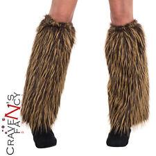 Adult Viking Warrior Fur Leg Warmers Caveman Fancy Dress Costume Accessory New