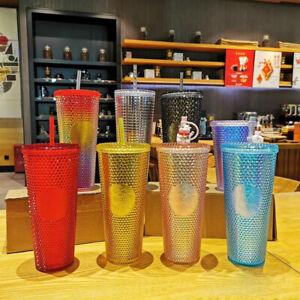 Starbucks 24oz Tumbler Red Blue Gold Bling Purple Glitter Studded Rainbow Cup