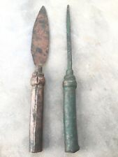 1700's ANTIQUE EXTREMELY RARE 2PC COPPER MUGHAL HUNTING WAR SPEAR  HEADS