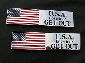 USA , LOVE IT OR GET OUT - PAIR CAR EMBLEMS Chrome Metal Fender Badges fits FORD
