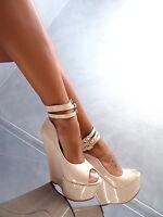 NEW WEDGE Sandalen Plateau Damen W21 Pumps Schuhe Beige Lack High Heels 37