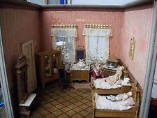 Antique German Room Box Victorian Schneegas Parlor Scene W/ Dollhouse Dolls!!!!