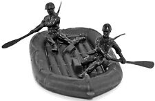 Marx Recast 54mm WWII U.S. Inflatable Boat and Crew - black color