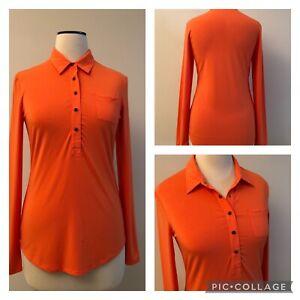 COOLIBAR orange UPF 50 UV Protection 1/2 snap performance jersey Golf shirt XS S