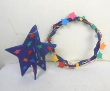 Vintage Set of 2 Dept 56 Christmas Star and Wreath Ornaments with Star Deco