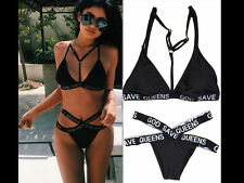 God Save Queens Bikini Caged Choker Harness High Waisted Strappy Beach Swimsuit