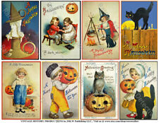 Halloween Scrapbook Stickers, Fall Decoration, Vintage Spooky Card Tags, 1 Sheet
