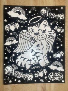 """Lisa Frank Angel Kitty Chrissy Cat Velvet 2 Pocket Folder Black White 12"""" x 9.5"""""""