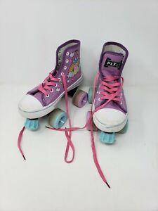 Lenexa Pixie Unicorn Kids Roller Skates Girls Quad Skate Size 1 Purple Blue
