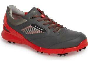 NEW Ecco Mens Base One HM GOLF Shoes, EU 41 US 7/7.5, DARK SHADOW/SCARLET, $170