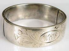 """Hinged Bangle """"Css"""" Etched ! Vintage Designer Signed Blackinton Sterling Silver"""
