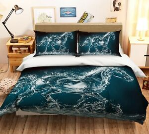3D Water Horse O729 Animal Bed Pillowcases Quilt Duvet Cover Set Queen King Fay