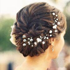 6 x Hochzeit Braut Haarschmuck Kopfschmuck Haarkamm Perle Haargesteck VB5T