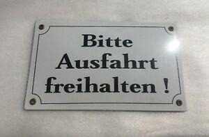 Vintage Enamel German Warning Street Sign