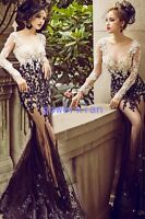 Mermaid Formal Evening Dress Lace Celebrity Embroidery Pageant Party Prom Gown