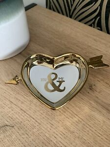 Gold Ceramic You And Me Trinket Heart Dish Jewellery Dish Home Decoration Gift