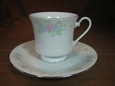 China Garden Prestige Cup and Saucer by Jian Shiang Platinum Trim Pastel Roses