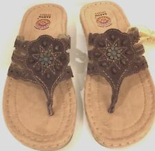 Earth Spirit 7 Womens Flip Flop Brown Beaded Leather Thong Sandals NWT