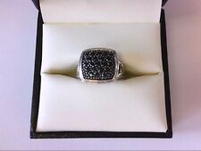 John Hardy SS 925 Classic Chain Collection Black Sapphire Ring. 7 US Size.