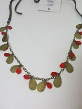 LOT OF 6 PCS Anthropologie Brown Brass Red bead Turq Charm Tie Necklace NWT $28