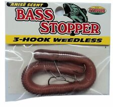 "K & E Bass Stopper Weedless Worm, SIX Packs, 3-Hook, 6"" Natural  #3WBS1PK-8"