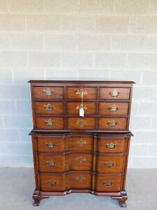 Vintage Kindel Mahogany Chippendale Style Block Front Tall Chest
